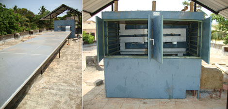 Solar-biomass hybrid dryer which can dry fish in 20hrs.